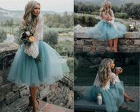 Wholesale two piece wedding dresses for sale - 2018 Simple Cheap Knee Length Wedding Dresses Elegant Two Piece Illusion Long Sleeve Lace Top Short Bridal Gowns Country Wedding Dresses