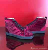 sonbahar kış gelinlikleri toptan satış-Sonbahar / Kış Şarap kırmızı Süet Deri Yüksek / Düşük üst Kızıl Dip Sneakers Ayakkabı Dikenler Adı Marka Dantel-up Casual Parti Elbise Düğün EU35-46