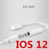 adaptador de cable auxiliar al por mayor-Nuevo auricular Adaptador de conector de auriculares Cable convertidor de iluminación a adaptador de conector auxiliar de audio de 3.5 mm para cable IOS 12 para iPhone7Plus