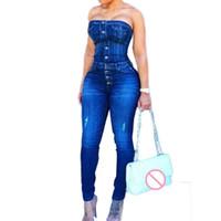 kadın denim tulumlar tulum toptan satış-Asya Boyut S-3XL Romper 2019 Seksi Kapalı Omuz Denim Tulumlar tulumlar Jeans tulum Straplez Kalem Pantolon