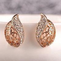 Wholesale bud earring resale online - New Hot Fashion Brincos Oorbellen Bijoux Leaf Buds Shape Acacia Leaves Hollow Crystal Stud Earrings For Women Jewelry