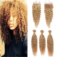 Wholesale honey blonde hair bundles for sale - Group buy Honey Blonde Kinkys Curly Human Hair Bundles with Closure Light Brown Virgin Peruvian Curly Hair Weave Extensions with Lace Closure