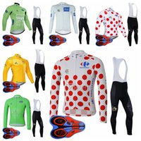 Wholesale tour france cycling jerseys men resale online - TOUR OF FRANCE team Cycling long Sleeves jersey bib pants sets men long sleeve bib pants spring autumn sports jersey stes S82623