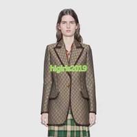 blazer chica de moda al por mayor-De gama alta mujeres niñas chaqueta de lona jacquard blazer pico solapa manga larga con un solo botón de cierre abrigo prendas de vestir exteriores de moda diseño de moda top de lujo