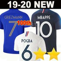 xxl tayland futbolu toptan satış-France soccer jersey football shirt 2019 Fransa futbol forması 100. yıldönümü 100 yıl 2 yıldız Yeni Futbol Forması 2018 Dünya Kupası Takım futbol forması Griezmann MBAPPE