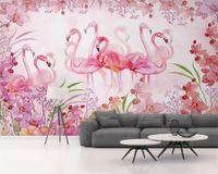 ingrosso piante di foglie piccole-Personalizzato moda carta da parati Nordic piccolo fresco foglie di piante verdi flamingo astratto sfondo papel de parede wall papers home decor behang