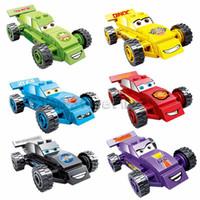inşa edilmiş model arabalar toptan satış-Pogo cars blok 6 modelleri yıldırım cars yarış araba yapı taşları oyuncaklar kitleri tuğla oyuncak hediyeler