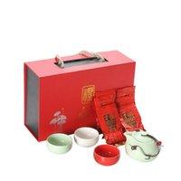 tazones de cerámica al aire libre al por mayor-Nuevo chino del té de viajes Teaware Establece Kung Fu juego de té de cerámica tazas portables de té de porcelana gaiwan de ceremonia con caja de regalo de la hoja de té gratis