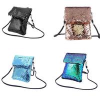 yan cüzdanlar toptan satış-Kızlar Çift taraflı Pul Çanta Renkli Mini Kare Omuz Messenger Cep Telefonu Saklama Çantası Kadın Kız Tote Kılıfı Çanta Için