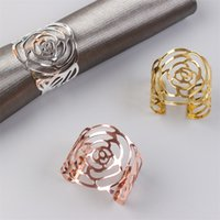 Rose Napkin Ring Silver Gold Rose Gold Color Hollow Out Napkin Holder For Party Wedding Table Decoration
