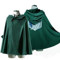 roupa japonesa venda por atacado-Hoodie japonês Ataque em Titan Cloak Shingeki não Kyojin Scouting Legião Traje Cosplay anime cosplay Cape verde roupas mens