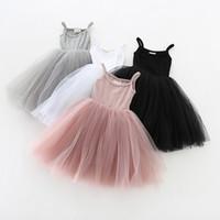 çocuklar butik elbiseler toptan satış-Bebek kızlar Dantel Tül Sling elbise Çocuk askı Mesh Tutu prenses elbiseler 2019 yaz Butik Çocuk Giyim 4 renkler C6257