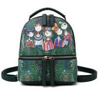 Wholesale forest green handbag for sale - Group buy designer backpack Retro Green Forest PRINT BACKPACK Lady Mini Handbag Shoulder Bag