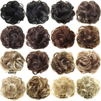 Wholesale donut bun rubber band resale online - Elastic Rubber Rope Chignons Colors Buns Ladies Fashion Messy Elastic Wave Kinky Curly Synthetic Hairpieces Wraps Women Donut Hair Roller
