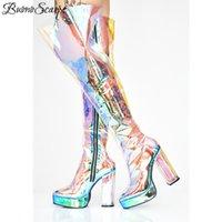 chunky oberschenkel hohe stiefel großhandel-Buono Scarpe 2019 Frauen Brand Design Klar PVC Lange Stiefel Chunky High Heel Oberschenkel Hohe Stiefel Plattform Reißverschluss über dem Knie
