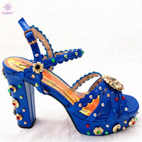 königliche blaue schuhe für frauen hochzeit großhandel-Königsblau Luxus Strass Afrikanische High Heels Markendesign Afrikanische Frau Schuhe für Parteien Hochwertige afrikanische Hochzeitsschuhe