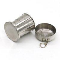 copas plegables para camping al por mayor-Vaso de acero inoxidable de 140 ml portátil de viaje al aire libre que acampa plegable plegable taza telescópica copa de vino botella de agua ZZA1058