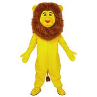 traje de león amarillo al por mayor-León amarillo traje de la mascota Precioso pequeño león Cospaly personaje de dibujos animados animal adulto fiesta de Halloween disfraz de carnaval