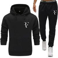 sudadera con capucha térmica gruesa al por mayor-Moda Roger Federer RF Imprimir Chándal hombres ropa interior térmica Hombres Conjuntos de ropa deportiva Fleece Thick hoodie + Pants Sporting Suit