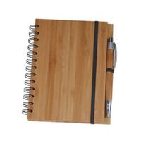 дерево для ноутбуков оптовых-Дерево Бамбуковый крышки ноутбуков Спираль Блокнот с ручкой 70 листов переработаны подкладке бумаги Free DHL 489