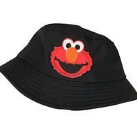 sombreros de cubo para niños al por mayor-Sombrero del cubo de los niños Sesame Street elmo Niños Sombreros del cubo de las muchachas Casco del sol Sombrero de pescador Sombrero de sombrilla de dibujos animados LJJK1691