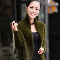 chaqueta de piel de visón de punto xl al por mayor-Real Mink Cashmere Sweater Mujeres Pure Mink Cashmere Knit Cardigan Winter 100% Mink Cashmere Cool Coat Fur Jacket Envío gratis Y190822