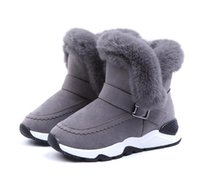 Wholesale winter children shoes boys resale online - Top Selling Children Boots Shoes New Winter Plush Warm Martin Boys Shoes Fashion Leather Soft Fleece Antislip Girls Boots