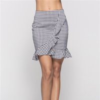 Wholesale sexy clothing boutiques for sale - Group buy Boutique cute dress Women Clothing Skirts Plaid printing Summer fashion wild ruffled plaid skirt hip sexy skirt