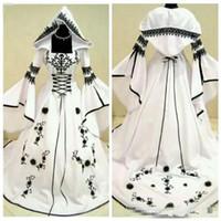 siyah dantel beyaz astar toptan satış-2019 Özel A-Line Siyah Dantel Nakış Beyaz Saten Gotik Gelinlik Ile Şapka Gelin Törenlerinde Çiçekler Süslenmiş Vestidos De Mariee
