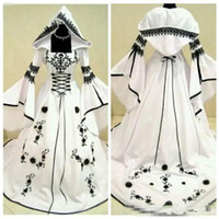 Wholesale gothic weddings dresses for sale - Group buy 2020 Custom A Line Black Lace Embroidery White Satin Gothic Wedding Dresses With Hat Bridal Gowns Flowers Adorned Vestidos De Mariee