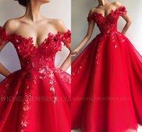 Wholesale evening dresses for sale - Elegant Red Flora Off Shoulder Evening Dresses A Line Appliques Sequins Long Evening Gowns Arabic Vestidos Prom Wears BC1458