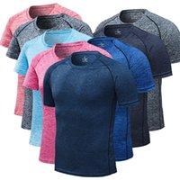 hızlı kuru tişörtler kadınlar toptan satış-Özelleştirilebilir Yaz Hızlı Kuru Kısa Kollu T-Shirt Erkek Kadın Fitness Spor T-Shirt Artı Boyutu Gevşek Nefes Spor Koşu Tee DS456 T03