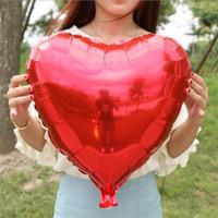 feuille de ballon saint-valentin achat en gros de-18 pouces Rouge Coeur Feuille Ballon En Forme de Feuille Ballons Saint Valentin Amour Cadeau De Mariage Fête D'anniversaire À La Maison Décoration Balloons Festival