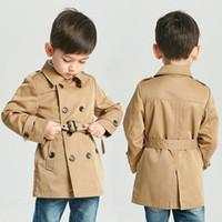 casacos esportes para crianças venda por atacado-Crianças de varejo designer inverno trench coat meninos estilo britânico longo esporte casual trench coat moda jaquetas de luxo outwear jaqueta roupas