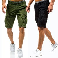 taschen mens kampfhosen großhandel-2019 Sommer neue Mens Cargo Shorts Hengst Chino Casual Combat Casual Shorts Baumwolle Multi-Pocket lose einfarbig halbe Hosen Streetwear