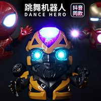 Wholesale avengers electronic for sale - Group buy Dance Iron Man Spider Man Avengers Action Figure Toy LED Flashlight With Light Sound Music Robot Bumblebee Hero Electronic Toy