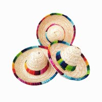 mexikanische partyhüte groihandel-10Pcs Natürliche Straw Mexican Hat Mini Sombrero-Babyparty-Geburtstags-Party-Dekoration Tischpartyangebot