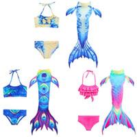 çocuk mayo toptan satış-Çocuklar Denizkızı Mayo Bikini Kız Denizkızı Kuyruğu Yüzmek Takım çocuk Giyim Bölünmüş Giyim Mayo