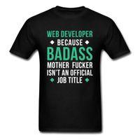 ingrosso maglia oversize nera-Badass Web Developer T-shirt Uomo Lettera T Shirt Nero Top Divertente dicendo Abbigliamento Estate Tee Cotton Tshirt Oversize