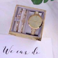 ingrosso bracciale in orologio al quarzo-Fashion Lady Quartz Watch Elegante abito da donna Relogio Famosa vendita calda Oro rosa Acciaio inossidabile Set di bracciali da polso in oro