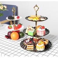 bolos de casamento venda por atacado-3 Nível de plástico Bolo Stand Holder Afternoon Tea Sobremesa Fruit Stand Nível Placa Wedding Party Três Layer Cake cremalheira Bakeware Abastecimento AN3004