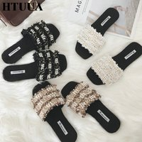 Wholesale knitting shoes slippers for sale - Group buy HTUUA Brand Women Slippers Summer Handmade Knitted String Bead Tassel Flat Slides Casual Beach Flip Flops Ladies Shoes SX2707