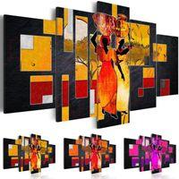 afrikanischen landschaftsmalereien großhandel-5 Panel Leinwand Wand Abstrakte Afrikanische Frauen Tragen Wasser Wüste Landschaft Leinwand Malerei Frameless Wandkunst Malerei Wohnzimmer Dekor, Cho
