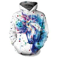 einhorndruck hoodie großhandel-Unicorn Printed Deisigner Damen Hoodies 3D Universum Printed Couples Hoodies Fashion Langarm Kapuzenhals Damen Bekleidung