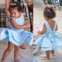 Wholesale halter back wedding dresses resale online - cute Light sky Blue Flower girls Dresses For Toddler With V Back Bow short Mini Girls Pageant Dresses cheap Kid Formal Wear