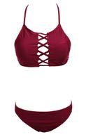 maillots de bain rembourrés achat en gros de-Ensemble de bikini triangle pour femme avec soutien-gorge rembourré