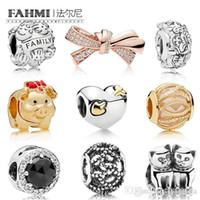 ingrosso fascino dell'arco d'argento-Fahmi 100% 925 Sterling Silver SHINE PIGGY Gattini FAMIGLIA rilievo Rose brillante Bow Charm Cuore e freccia Amore Struck Perline donne di fascino