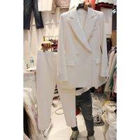 terno animal coreano venda por atacado-Primavera New Coreano Profissional Magro Pequeno Terno Calças Terno Temperamento Jacket 2 Peças Set Desgaste Feminino para Ternos de Negócio # 409061