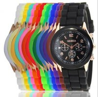 женские наручные часы силиконовой жены оптовых-Роскошные Женевские часы конфеты цвет желе Силиконовый пояс талии часы Мужчины Женщины унисекс повседневные часы Кварцевые наручные часы AAA1344