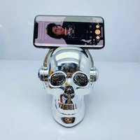 Wholesale skulls mp3 resale online - E80 Plating Skull Head Protable Wireless Bluetooth Stereo Speaker With HD Sound Stereo Bass Surround Loudspeakers Subwoofers Car Mp3 Player